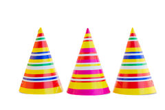 Three hats for birthday party. Isolated on white background Stock Photo