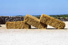 Three hay bales resting on the ground Stock Photos
