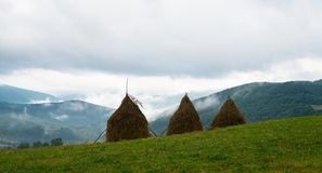 Three haystacks in the Ukrainian Carpathians Stock Photos
