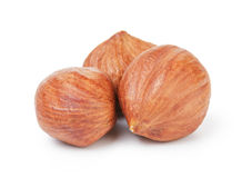 Three hazelnut kernels Royalty Free Stock Photo
