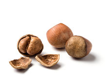 Three hazelnuts, one cracked, Royalty Free Stock Image