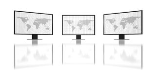 Three hd-monitors in action Royalty Free Stock Images