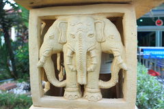 Three head elephant stone carving Royalty Free Stock Photos