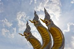 Three head naka statue. Royalty Free Stock Photos