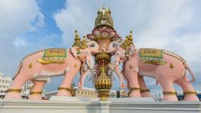Three head pink elephants statue Royalty Free Stock Photo
