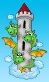 Three headed dragon on sky. Color illustration Royalty Free Stock Image