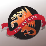 Three-headed dragon and a tape with the words FIRE and BLOOD. Emblem. Graphic design element for printing. Vector image. Sign, logo  for printing on fabric or Royalty Free Stock Photos