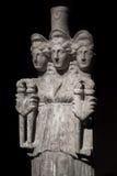 Three headed roman-asian ancient statue of beautiful women at bl Stock Image