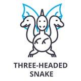 Three headed snake thin line icon, sign, symbol, illustation, linear concept, vector stock illustration