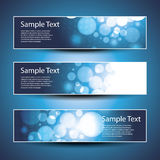 Three Header Designs. Three Blue Header or Banner Designs with Bubbles in Editable Vector Format Stock Photos