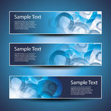 Three Header Designs. Three Abstract Blue Header Design Templates in Freely Scalable & Editable Vector Format Stock Photography