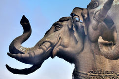 Three Heads  elephant of Erawan Museum. Art of gigantic architecture section withinin the building full of priceless collectable Stock Image