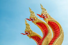 The three heads of holy red king of nagas statue Royalty Free Stock Photos