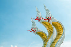 The three heads of holy white king of nagas statue Stock Photos