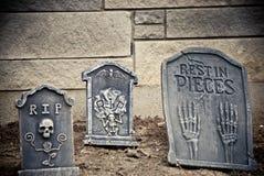 Three headstones. A set of three decorative headstones stock photos