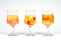 Three Healthy Assorted Fruit Cocktails. On Soft Background royalty free stock image