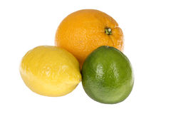 Three Healthy Colourful Citrus Fruits Orange Lime Lemon Stock Photography