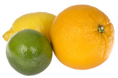 Three Healthy Colourful Citrus Fruits Orange Lime Lemon Royalty Free Stock Images