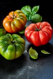 Three healthy wet fresh tomatoes with copy space. Three healthy wet washed fresh tomatoes in red, green and orange with copy space and basil leaves on a dark royalty free stock photos
