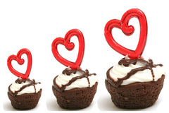 Three heart brownies in a row Stock Images