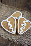Three Heart shape gingerbread Cookie on sacking Stock Photo