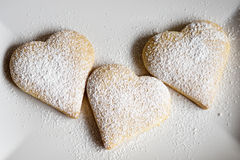 Three heart-shaped biscuits Stock Photography
