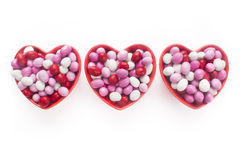 Three Heart Shaped Candy Dishes royalty free stock photos