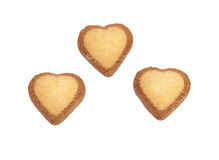 Three heart-shaped cookies Royalty Free Stock Image