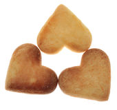 Three Heart-Shaped Cookies. Isolated against a white background Stock Photography