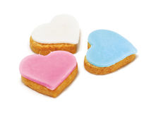 Three heart-shaped cookies stock image