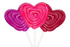 Three heart shaped lollipops Royalty Free Stock Photography