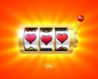 Three heart symbols on gold slot machine Stock Photos