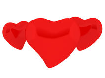 Three hearts. Three red heartson white background Stock Image