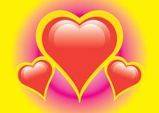 Three hearts Stock Images