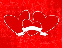 Three hearts with blank banner Stock Image