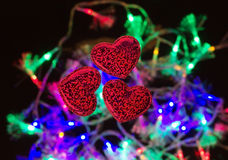 Three hearts on colored background Royalty Free Stock Photo