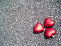 Three hearts with copyspace Stock Photography