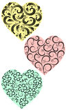 Three hearts from curls Royalty Free Stock Photo