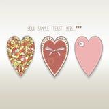 Three hearts hamdmade valentine Stock Photography
