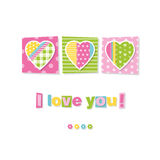 Three hearts I love you card. Illustration of patterned hearts on pink and green rectangular backgrounds with colorful I love you text and flowers Vector Illustration