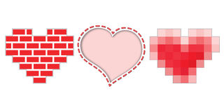 Three hearts icons for Valentines day Stock Images