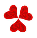Three hearts made of cloth. Isolated on a white background Royalty Free Stock Photo