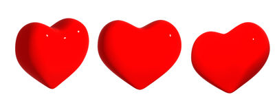 Three hearts of red color Royalty Free Stock Photography