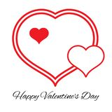 Three hearts. Romantic love symbol of valentine day. Vector illustration Royalty Free Stock Images