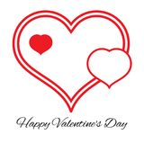 Three hearts. Romantic love symbol of valentine day. Vector illustration Stock Images