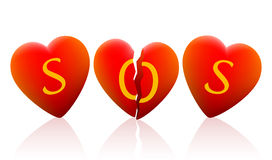 Three Hearts SOS Royalty Free Stock Images