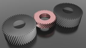 Three helical gears Stock Photography