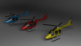 Three helicopters on gray Stock Image