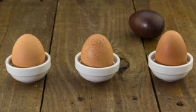 Three hen eggs in a row and one wooden carved egg on rustic blur Stock Photos