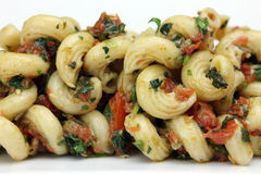 Three Herb Pesto with Pasta. Closeup of Pasta Salad with Three Herb Pesto Stock Photos